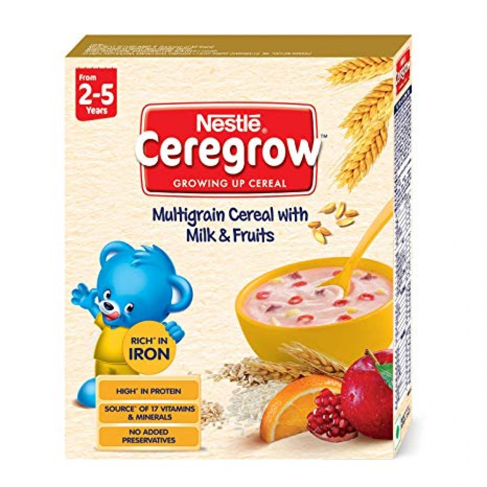 NESTLE CEREGROW MULTIGRAIN CEREAL WITH MILK & FRUITS FROM 2-5 Yr